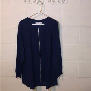 Denim & Co. NWOT Sz 2X Navy Blue Sweatshirt/Jacket